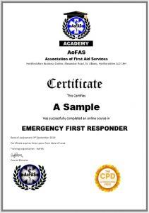 sample AoFAS EFR certificate